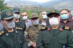 فرمانده سپاه قدس گیلان از منطقه رانش زمین در خرشک بازدید کرد