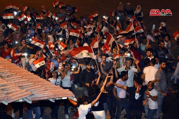 جشن مردم سوریه با اعلام نتایج انتخابات ریاست جمهوری