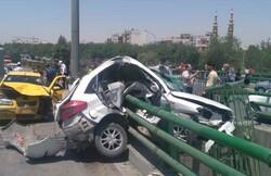 قطع دست راننده ام وی ام در تصادف به دلیل تخطی از سرعت مطمئنه