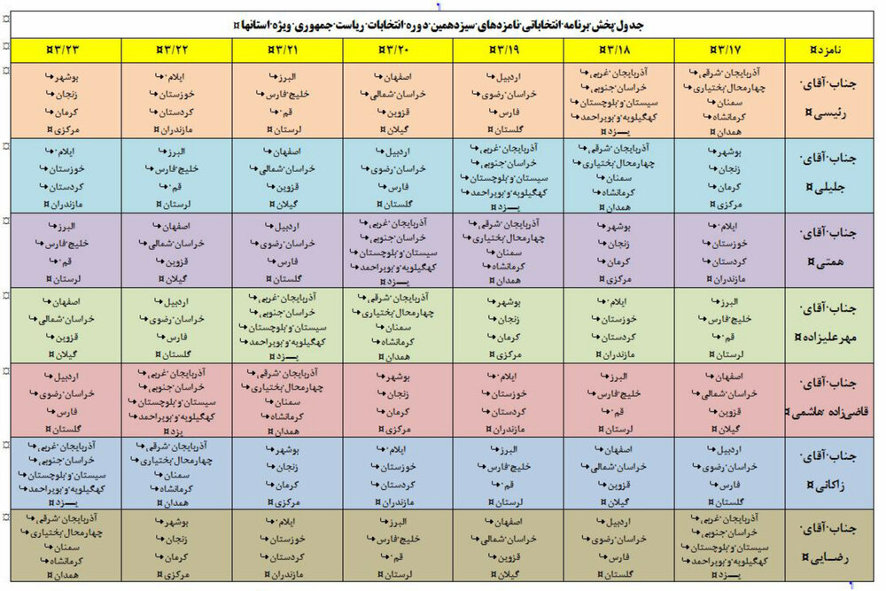 ۳۰ برنامه انتخاباتی نامزدهای ریاست جمهوری در ۳۰ شبکه استانی