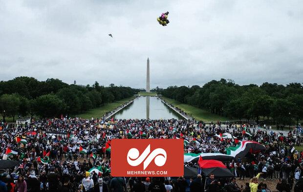 واشنگٹن میں فلسطینیوں کی حمایت میں شاندارمظاہرہ