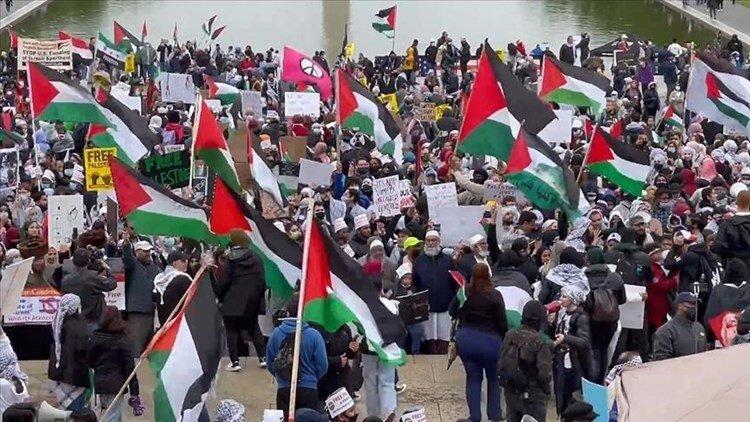 """تظاهرة كبيرة في واشنطن تنديداً بجرائم """"إسرائيل"""" بحق الفلسطينيين"""