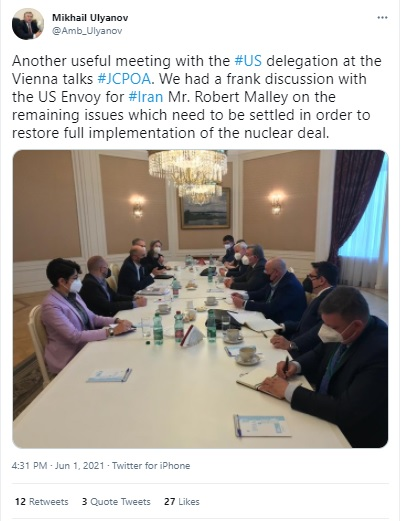 Moscow discusses JCPOA Vienna talks with Washington