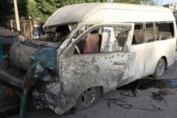 A car explodes in front of Ahl al-Bayt Mosque in Kabul