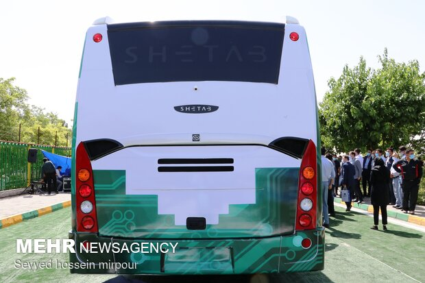 Unveiling ceremony of 1st home-made electronic bus in Mashhad