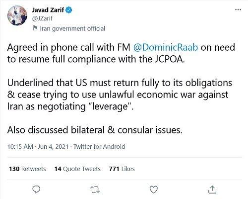 FM Zarif confers with his British counterpart on JCPOA