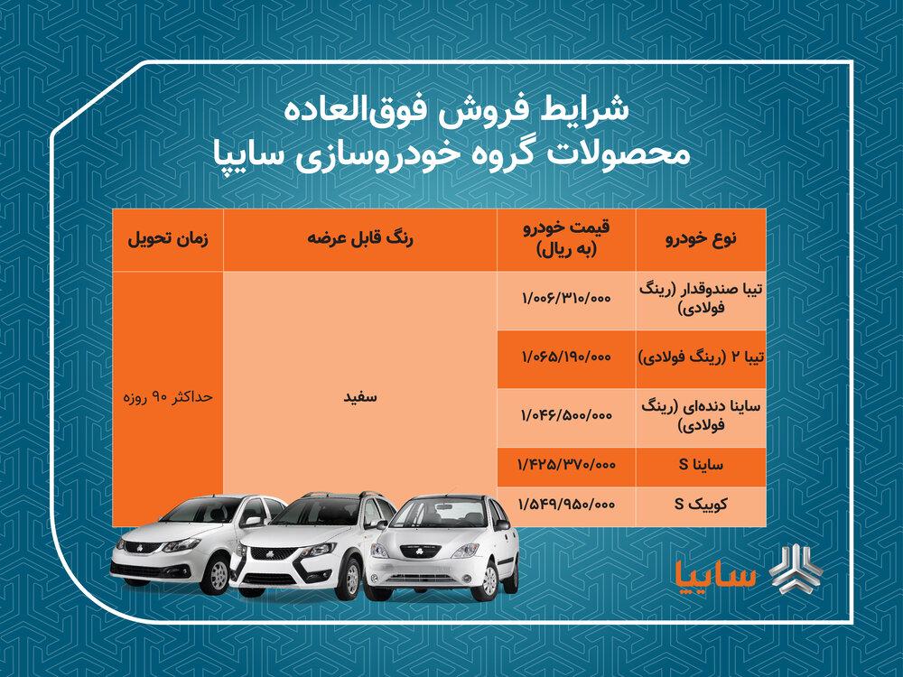 3791245 - فروش فوق العاده ۵ محصول گروه خودروسازی سایپا آغاز  می شود