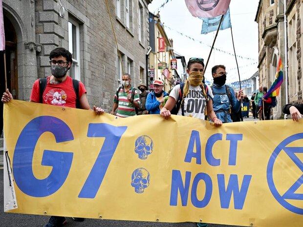 از سرگیری اعتراضات در «کورنوال» انگلیس در دومین روز برگزاری جی ۷