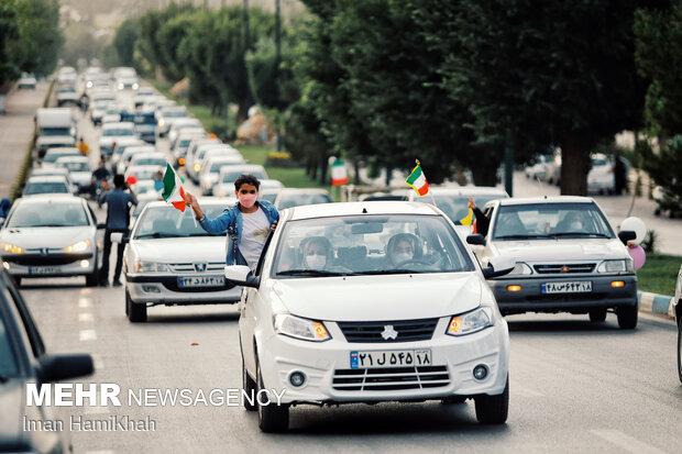 شادی مردم همدان بعد از پیروزی ابراهیم رئیسی در انتخابات