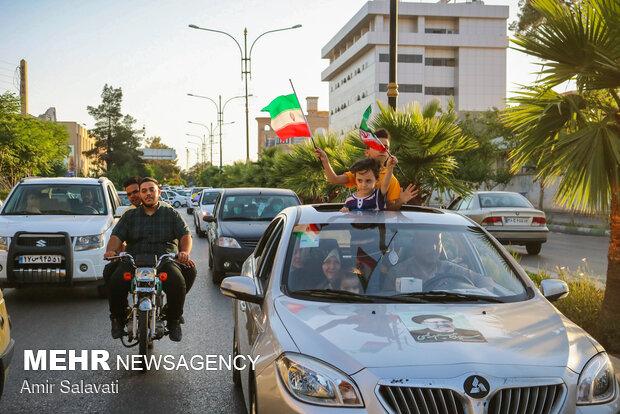 People in Semnan celebrating victory of Raeisi in Election