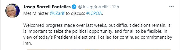 EU's Borrell calls all JCPOA parties be flexible