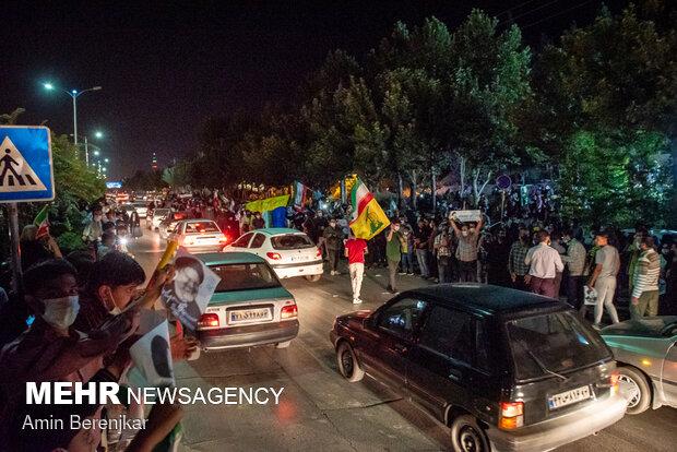 جشن پیروزی هواداران آیت الله سید ابراهیم رئیسی در شیراز