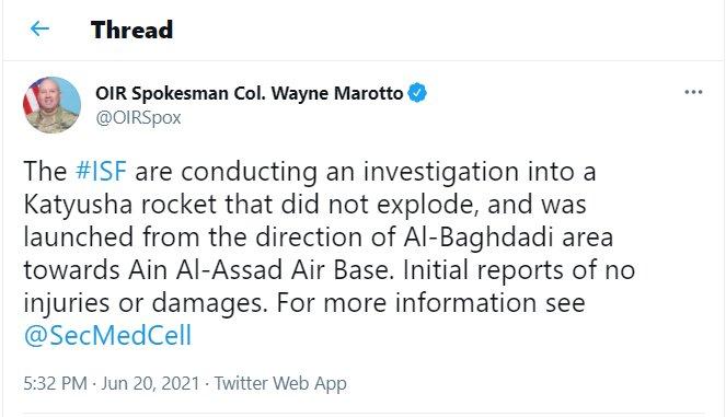 شلیک راکت به پایگاه «عین الاسد» تایید شد