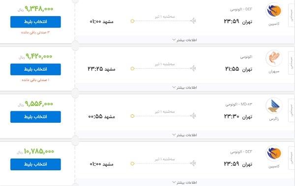 قیمت بلیت پروازهای تهران-مشهد همچنان میلیونی است