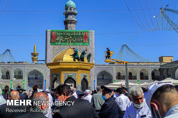 Imam Reza shrine decorated ahead of his birth anniversary