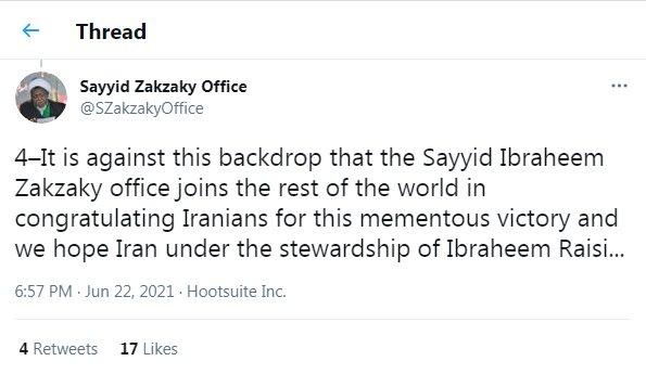 پیام تبریک دفتر شیخ زکزاکی به سید ابراهیم رئیسی