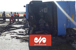 فیلم دوربین مدار بسته از واژگونی اتوبوس در دهشیر