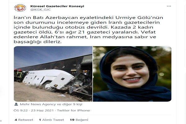Küresel Gazeteciler Konseyi'nden İran'a taziye mesajı