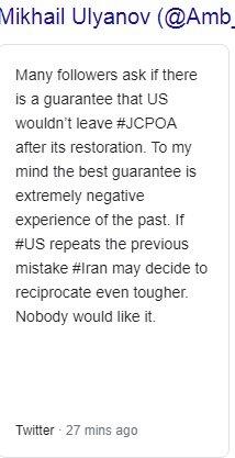 ریابکوف: پاسخ قاطع ایران، بهترین تضمین ماندن آمریکا در برجام است