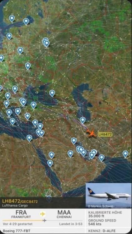 عبور پروازهای ایرلاین اروپایی از آسمان ایران دیشب کلید خورد