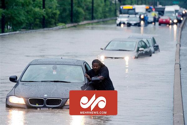 جاری شدن سیل در نیویورک آمریکا در پی طوفان گرمسیری السا