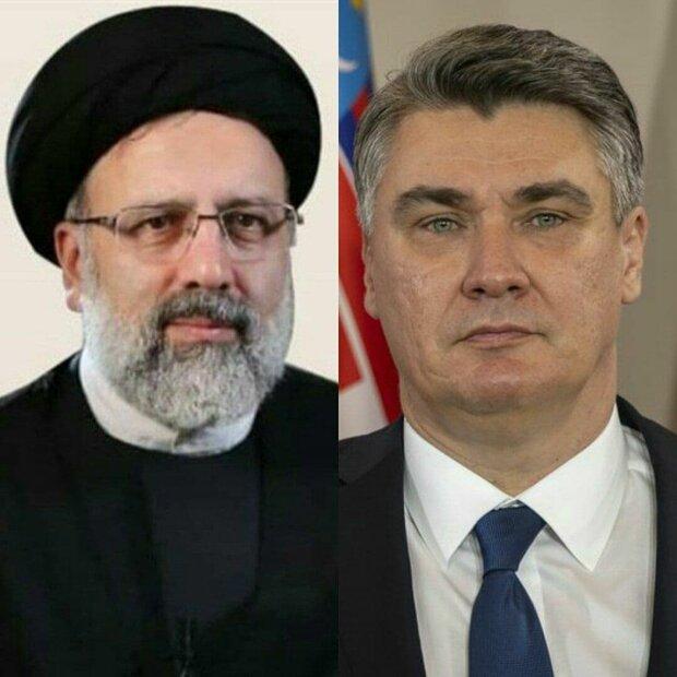 کروشیا کے صدر نے ایران کے نئے صدر کو مبارکباد پیش کی