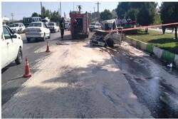 انحراف از مسیر خودروی سواری در کرمانشاه ۲ مصدوم به جای گذاشت