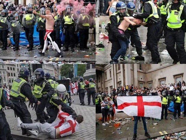 یوروکپ کے فائنل میں شکست کے بعد برطانیہ میں ہنگامے پھوٹ پڑے/ 21 پولیس اہلکار زخمی