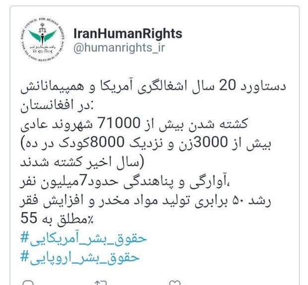 US killed 71,000 Afghan civilians since 2001, Iran HR says