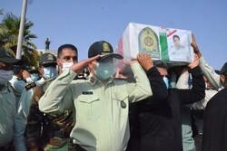 پیکر مطهر ۳ شهید انتظامی کهنوج تشییع شد