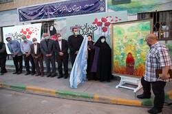 تابلوی نقاشی «دختران مکتب سیدالشهدا(ع)» در مشهد مقدس رونمایی شد