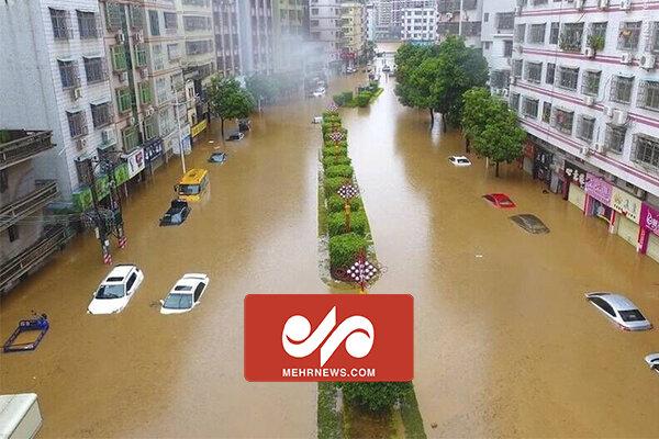 تصاویر هوایی از سیل در استان هنان چین