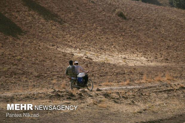با خشک شدن چشمهها و قنوات دامداران و کشاورزان آب شرب موردنیاز خود را از خانه با خود میبرند.