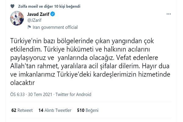 Zarif'ten Türkiye'ye başsağlığı mesajı