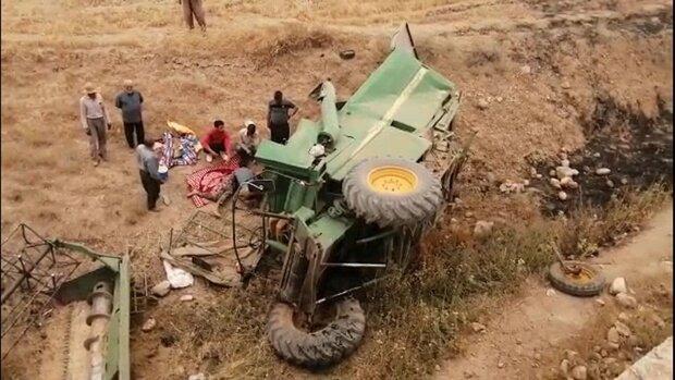 مرگ دلخراش راننده کمباین بر اثر سقوط از پل روستای پرلوک