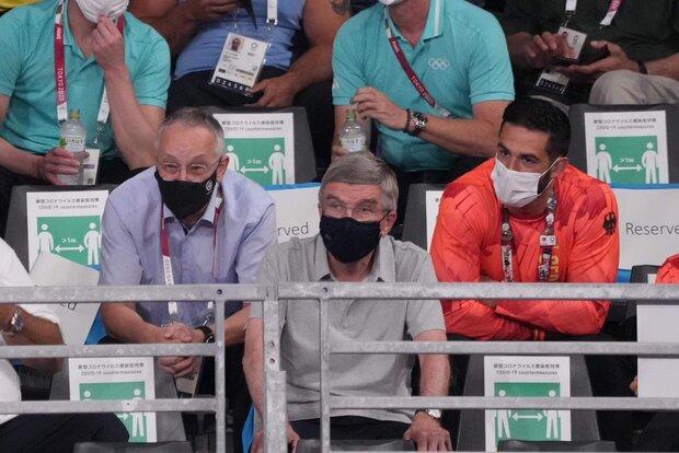 رئیس کمیته بین المللی المپیک تماشاگر مسابقات کشتی