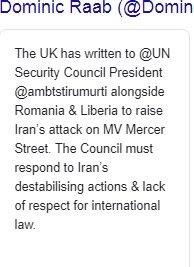 Raab repeats false allegations against Iran