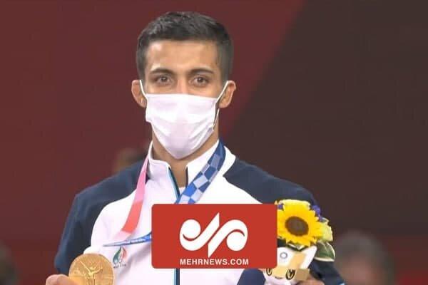 لحظه اهدای مدال طلای المپیک محمدرضا گرایی