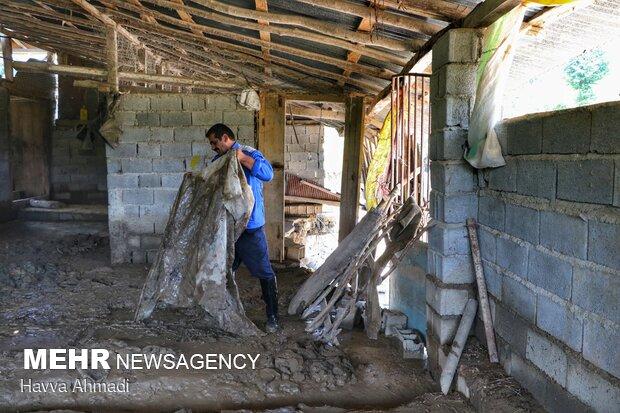 تخریب شدن قسمتی از سالن دامداری و باعث تلف شدن دام و پرندگان خانگی شد.