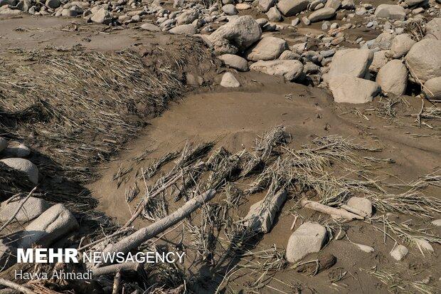 سیل و تخریب شدن برخی از شالی های مدفون شده در گِل، روستای کالیکلا لفور