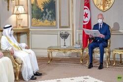 مشاور رئیس امارات با رئیس جمهور تونس دیدار کرد