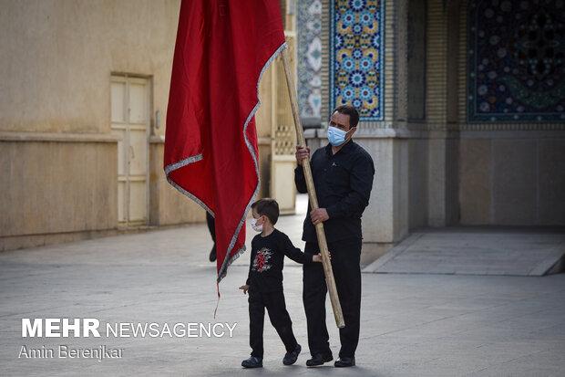 آیین تعویض پرچم و بیرق گردانی در حرم مطهر شاهچراغ(ع)