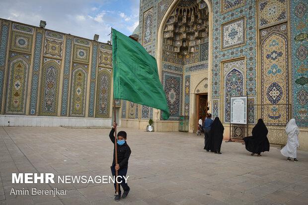 """'Black Mourning Flag"""" hoisted in Imam Reza Shrine in Mashhad"""