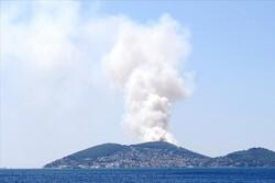 İstanbul Heybeliada'da çıkan yangına müdahale sürüyor