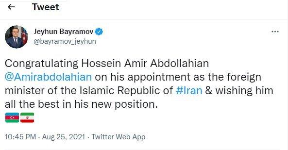 Top diplomats offer congratulations to new Iran FM
