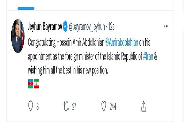Azerbaycan'dan İran'ın yeni Dışişleri Bakanı'na tebrik mesajı