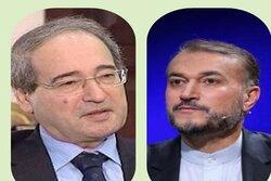 المقداد يؤكد لأميرعبداللهيان ضرورة استمرار التعاون بين سوريا وإيران