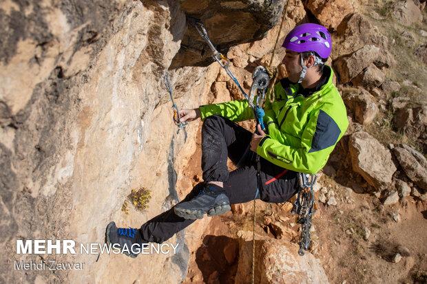 Preparing route for rock climbing in W Azerbaijan Province