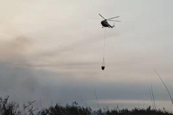 تلاش برای اطفاء هوایی حریق در «درازنو» کردکوی ادامه دارد