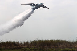 Aerial firefighting to curb wildfire of Anzali Lagoon